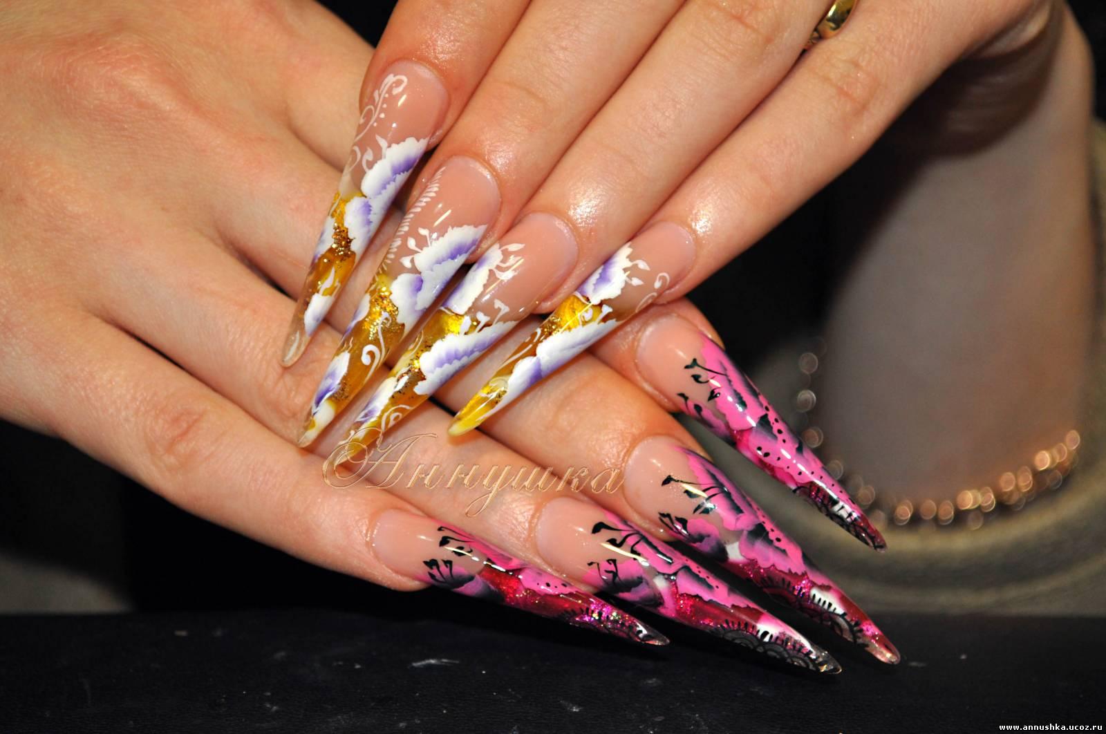 Фото дизайн ногтей роспись иголой